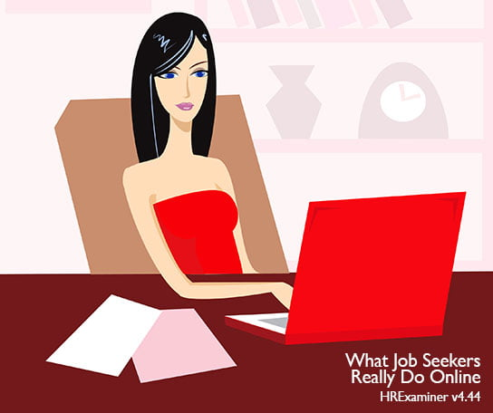 vector image of woman on laptop in feature image for HR Examiner weekly edition for November 22, 2013 What Job Seekers Really Do Online