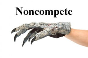 photo of noncompete agreement with claws instead of clause