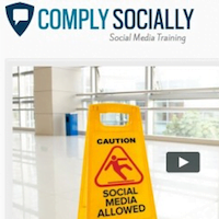 photo of comply socially logo and social media slip and fall warning sign