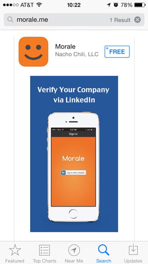 iOS 7 app store screen showing morale.me app