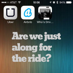 image of iOS screen with airbnb and uber app icons and text from HR Examiner story