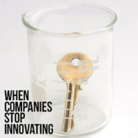 Photo of beaker with key inside it on HRExaminer When Companies Stop Innovating Heather Bussing March 12 2014