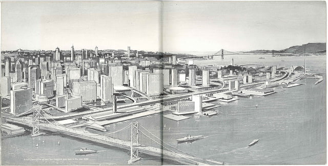 artists rendering of san francisco in year 2000 from 60's