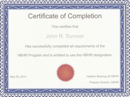 image of certificate hbhr program on hrexaminer.com may 30 2014 by heather bussing