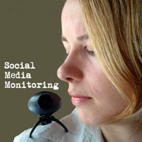 picture of woman with webcam on shoulder monitoring her social media work