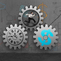 image of cogs, man, time, for article on job boards and ats market in article Look back at Recruiting