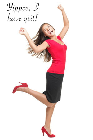 """photo of woman saying, """"Yippee, I have grit!"""""""