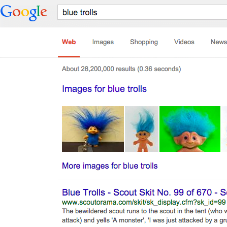 screen capture of google search results page showing blue trolls