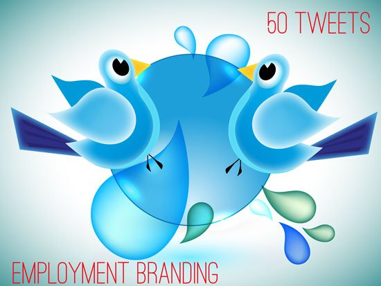 illustration of social media birds twitter like on hrexaminer.com article about employment branding tweets April 20, 2015 by John Sumser