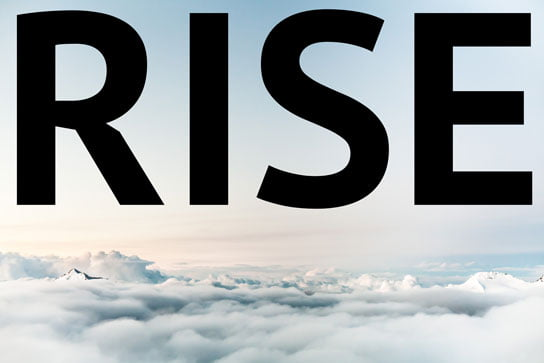 photo above clouds with text rise on hrexaminer.com feature article v6.20 May 29, 2015