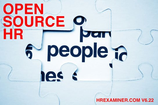 photo / illustration of puzzle revealing text 'people' with red text 'open source hr' on HRExaminer.com Weekly Edition v6.22 for June 12, 2015
