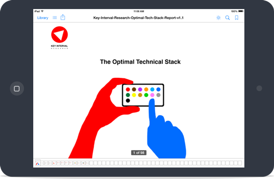 image of tablet with report on screen from KeyInterval Research (Optimal Tech Stack)