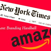 Amazon New York Times Logos over red background in HRExaminer.com article by John Sumser titled Employment Branding Hardball