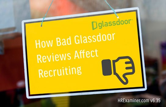 photo of yellow sign on glass door in HRExaminer.com feature article v6.35 published September 18, 2015 titled How Bad Reviews Affect Recruiting
