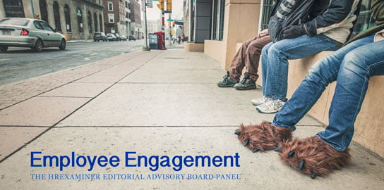 city street scene showing people's legs with person wearing monster slippers photo credit Ryan McGuire Gratisography in HRExaminer.com article about Employee Engagement published December 8, 2015