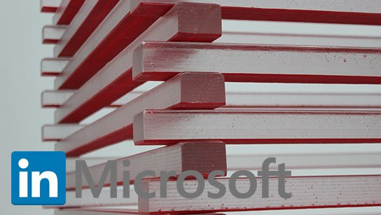 photo of stacked blocks with imagined linkedin Microsoft logo