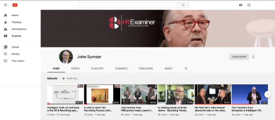 Screenshot showing John Sumser's HR Examiner YouTube Channel 2020-06-12 HR Examiner Weekly Ed v1076 youtube video John Sumser AI Intelligent Tools During Corona Pandemic 544x238px.jpg