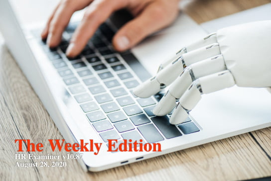 close-up view of human and robot hands typing on laptop at work 2020-08-28 HR Examiner weekly ed v1087 John Sumser Human Machine Learning Partnership photo img AdobeStock 205145568 544x363px.jpg