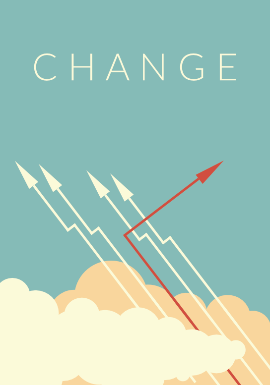 illustration showing arrows and the word change with one arrow leaving the path of the other arrows